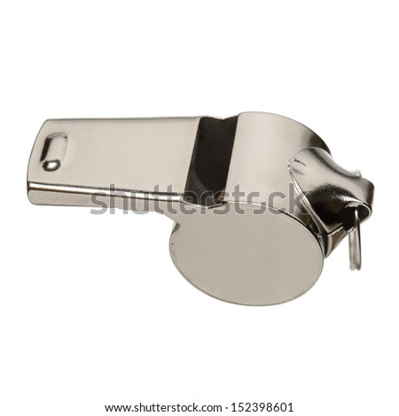 Metal sport whistle isolated on white background - stock photo