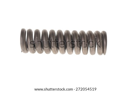 metal spring isolated on white - stock photo