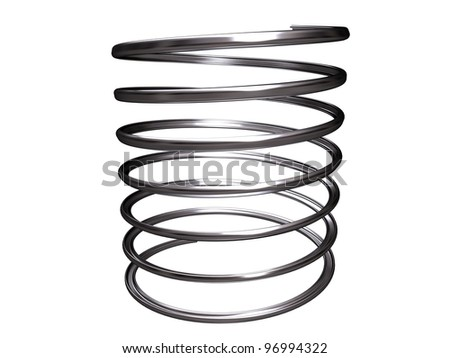 metal spring isolated on white background - stock photo