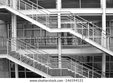 Metal stairs and construction at industrial processing plant