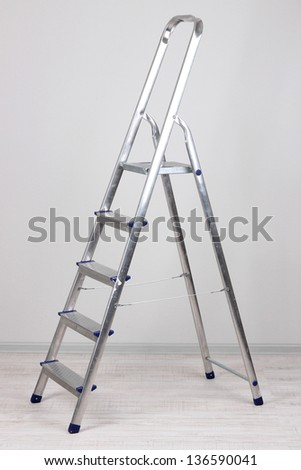 Metal stairs in room - stock photo