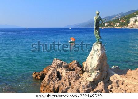Metal statue on the promenade near the Adriatic sea, Opatija, Croatia - stock photo