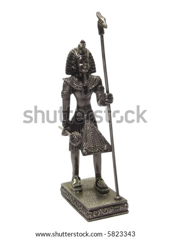 Metal statuette of Egyptian Pharaoh isolated on white background - stock photo