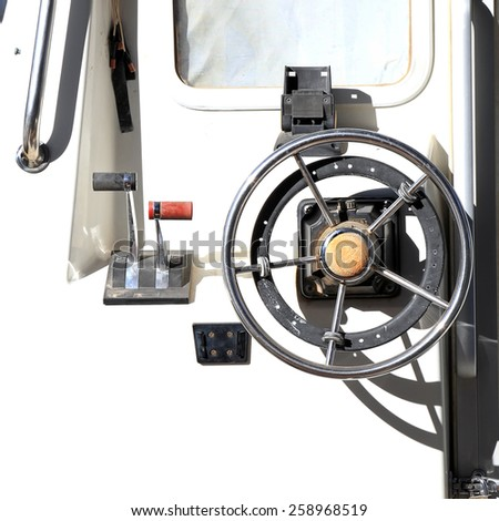 Metal steering wheel of the ship  - stock photo