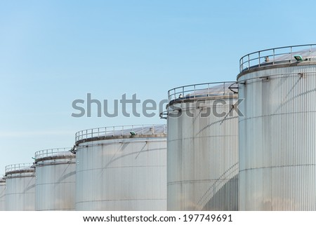 Metal storage tanks - stock photo
