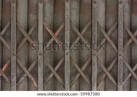 Metal store door - stock photo