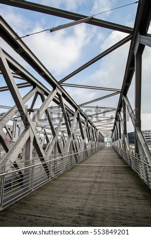 Metal structure of bridge construction. Hamurg Germany