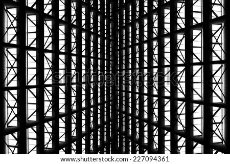 metal structure similar to spaceship interior in black and white - stock photo