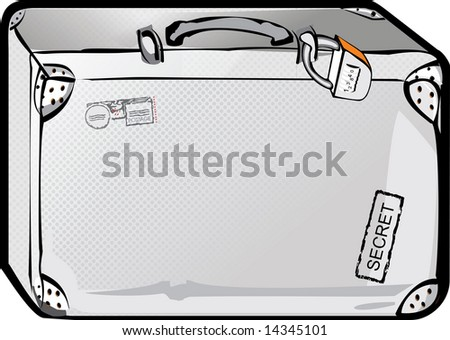 Metal suitcase with the lock - stock photo