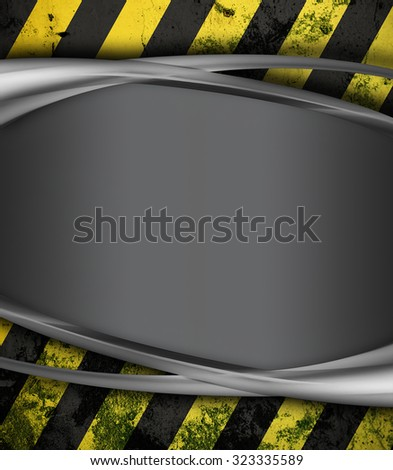 metal  surface with yellow and black stripes as warning or danger background - stock photo