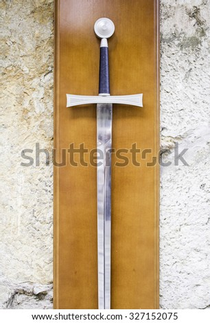 Metal sword on exhibition of weapons, knife - stock photo