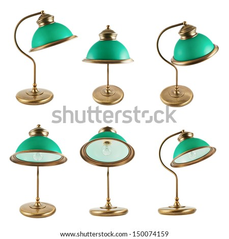 Metal table-lamp with a green lampshade isolated over white background, set of six foreshortenings - stock photo