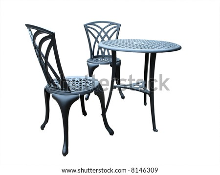 Metal Table with Two Chairs