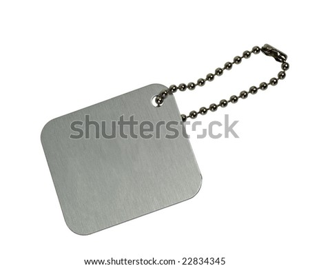 Metal tag with chain isolated on white background