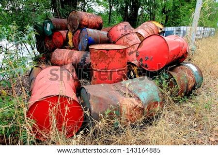 metal tank garbage in landfill - stock photo