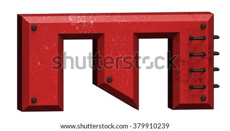 Metal Tech style alphabet - Letter M. - stock photo