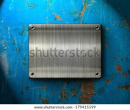 Metal template background with scratches - stock photo