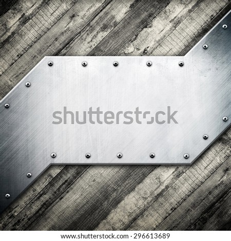 metal template on wood plank background