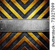 metal template with warning stripe pattern - stock photo