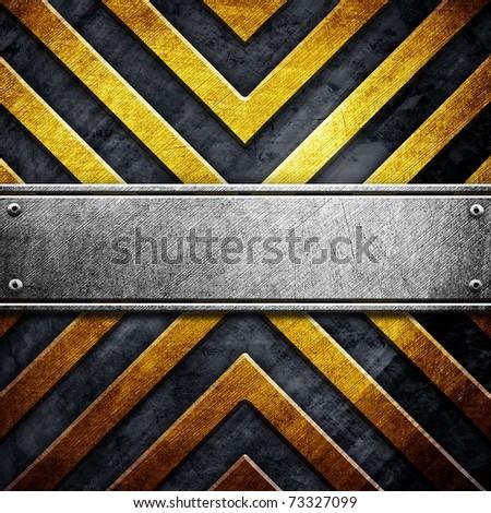 metal template with warning stripe pattern - stock photo