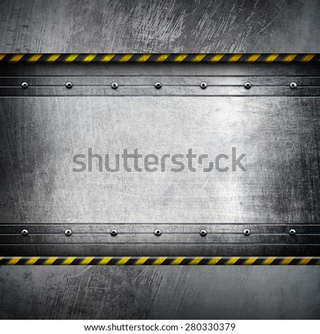 metal template with warning stripes  - stock photo