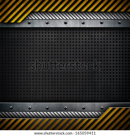 metal template with yellow and black stripes - stock photo