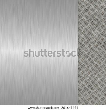 metal texture, diamond plate and brushed metal - stock photo