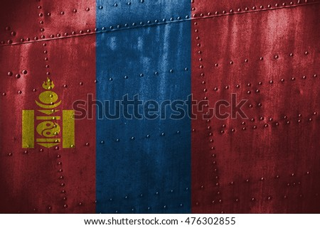 metal Texture  or background with Mongolia flag