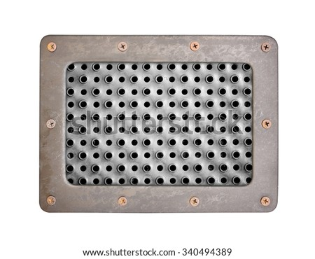 metal texture with holes plate with metal frame and screws - stock photo