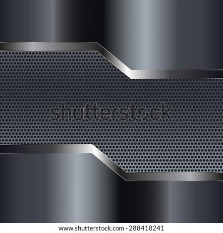 Metal texture with perforation. Dark steel background. Raster version - stock photo