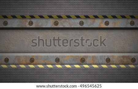 Metal textured background.Rusted metal. Warning stripes.