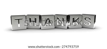 Metal Thanks  Text (isolated on white background) - stock photo