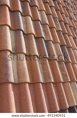Metal Tile Roof Useful For Background Or Pattern Close Up