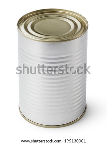 Metal Tin Can isolated on white with clipping path - stock photo
