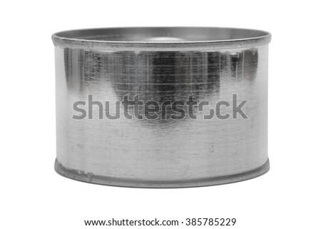 metal tin can on white background. - stock photo