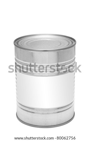 Metal tin can with blank white label on front - stock photo