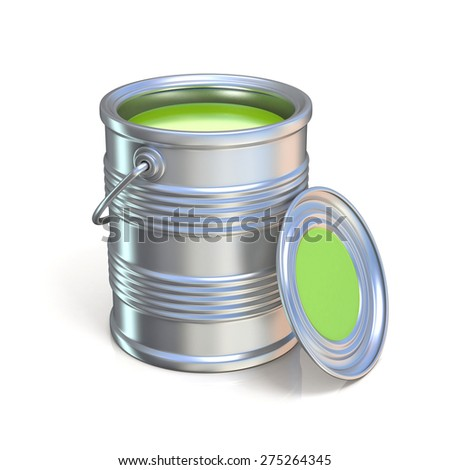 Metal tin can with green paint. Isolated on white background - stock photo