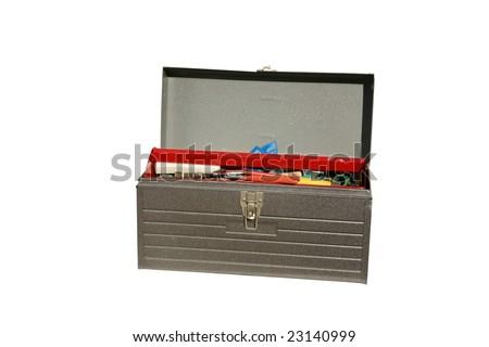 metal tool box isolated on white - stock photo