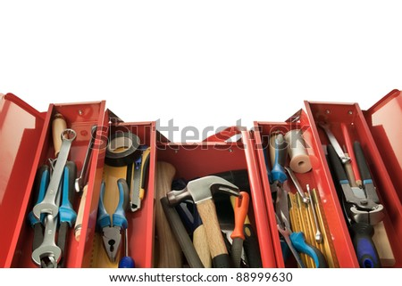 Metal toolbox with carpenter's tools