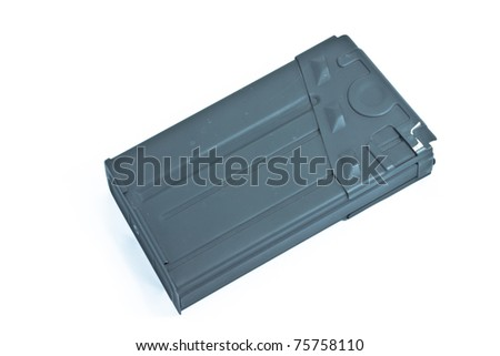 Metal toy gun magazine on white isolated - stock photo