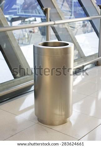 metal trash bin. - stock photo