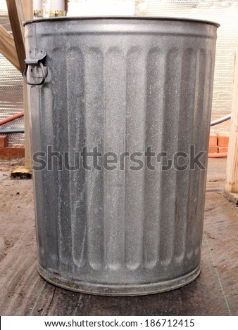 Metal trash can - stock photo