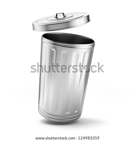Metal trash can isolated on a white background