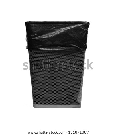 metal trash with bag - stock photo