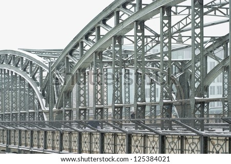 Metal Truss Bridge at Wintertime in Munich - stock photo