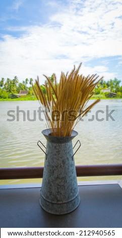Metal vase for flowers - stock photo