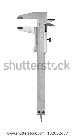 Metal vernier caliper isolated on white background. - stock photo