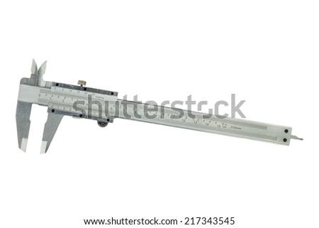 Metal vernier caliper  on white background - stock photo