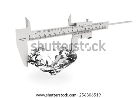Metal Vernier Caliper with Diamond on a white background - stock photo