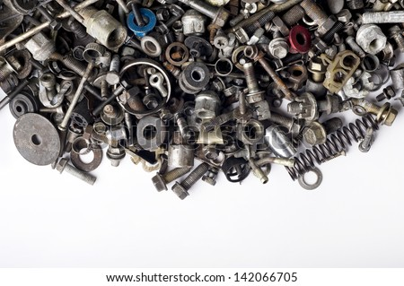 Metal waste and scrap, Metal background and free space for text. - stock photo